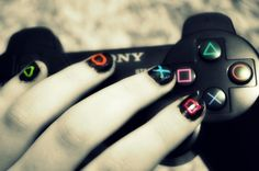 Playstation Nails, I was gonna do this before I saw it on Pinterest. :P