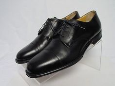 NEW Italy BRUNO MAGLI IRWIN Men 9-M Black Leather Cap Toe Dress Oxford Shoes
