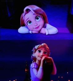 What I love about Rapunzel, she's innocent from childhood to young adulthood. She shows that growing up doesn't mean losing that purity, and she still got her dream. That's my life.. <--YES