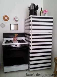 striped fridge, duct tape, black and white, rental kitchen gallery