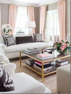 Pink Grey & Gold interior- with four girls in my house, I need a room like this! ;)