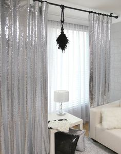 Awesome Silver Sequins Beaded Curtains Drapery by fashionplayer, $220.00