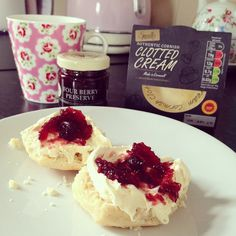 Treat time! #treat #tea #yorkshiretea #scone #jam #preserve #mrsbridges #clottedcream #delicious #cathkidston
