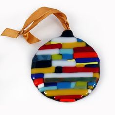 Round Patches Fused Glass Heirloom Ornament by AtlantisDesigns, $24.00