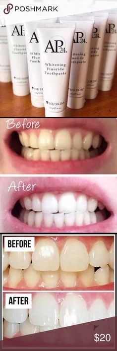 AP24 Flouride Whitening Toothpaste. (🚫 BUNDLE) Genuine AP24 Flouride Whitening Toothpaste. Before and after pictures are of people that have bought the Toothpaste from me! Be cautious of buying this toothpaste under $20, it's most likely fake because the company does not want to undervalue product and therefore sets price at $20! (EXCLUDED FROM BUNDLES) AP24 Other Nuskin Toothpaste, Ap 24 Whitening Toothpaste, Before And After Pictures, Cosmetics, People, People Illustration, Folk