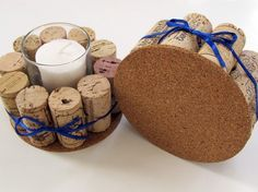 Wine Cork Votive Holders with Blue RibbonSet by LizzieJoeDesigns