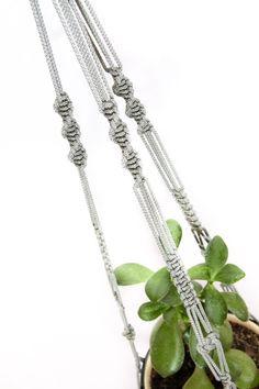Gray Macrame Plant Hanger - Gift Idea Hanging Planter - 28 inches 3mm - Basket