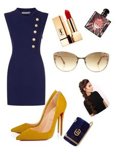 """Blue dress"" by daliahdivine on Polyvore featuring Pierre Balmain, Christian Louboutin, Gucci, Yves Saint Laurent, Roberto Cavalli and LullaBellz"