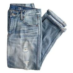 J.Crew Destroyed Broken-In Boyfriend Jean ❤ liked on Polyvore featuring jeans, slouchy boyfriend jeans, blue ripped jeans, distressed jeans, boyfriend fit jeans and j crew jeans