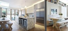 Parsons Green Terraced House: London kitchen by PEEK ARCHITECTURE marble island unit handleless cupboards and built in banquet bench seat