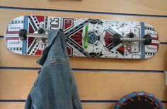 Recycled Skateboard Wall  Coat Hat Rack with Wheel Coat Hooks & a Retro Hook. Kid's Room,Dorm,Teen's Room,Living Room,Bedroom,Mudroom Decor by TheRustyBucketVT on Etsy