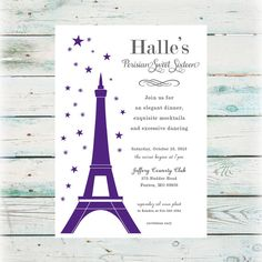 Pink Purple or Blue Eiffel Tower Paris Themed Birthday Invitation