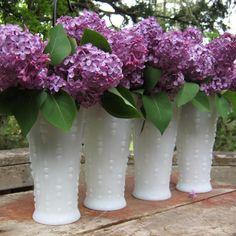 Four Milk Glass Teardrop Vases White Wedding by oakhillvintage