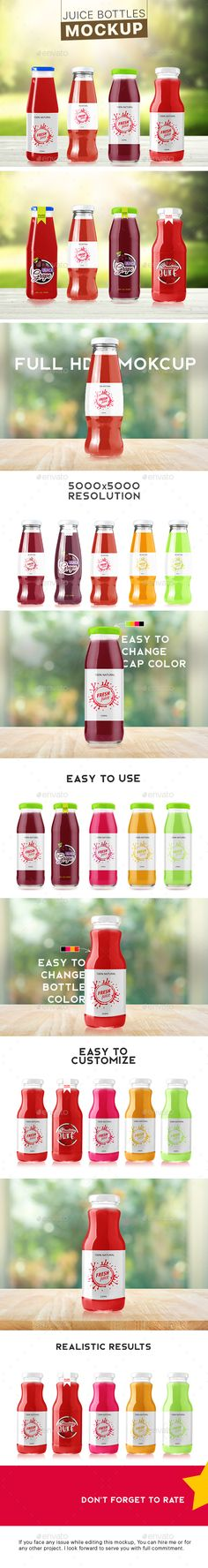 4 #Colourable Juice Bottle #Mockup - Food and Drink #Packaging