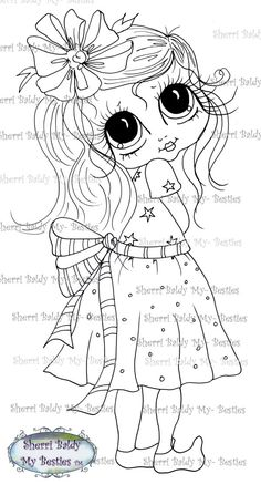 INSTANT DOWNLOAD Digital Digi Stamps Big Eye Big Head Dolls Digi  My - Besties  IMG347 By Sherri Baldy
