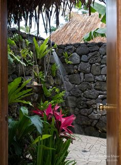 Paradise Taveuni Resort, Taveuni, Fiji; the outdoor shower and hot tub area of the Hibiscus Bure, viewed from the door leading out of the bathroom