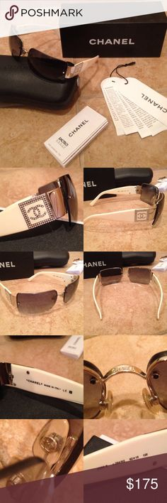 EUC Chanel white rhinestone CC logo sunglasses 💯 % authentic. Comes with original case, box, Chanel Luxottica information card, and international Guarantee Certificate. Received as a gift 7 years ago. Retired style, sold out in stores. Excellent used condition. Only signs of wear is one faint scratch on right lens and some pink discoloration on the underside of the arms (not noticeable when worn. See pics). Only reason I'm selling is I don't wear them often enough. 🚫 trades or low ball…
