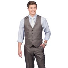 This suit separate vest from Kenneth Cole's Crème Label is featured in a classic grey color with a five-button front closure. Pointed bottoms add structure to the vest, finished with tonal back lining.
