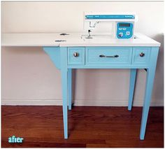 Most up-to-date Pic sewingtable sewing table Style An intense how-to for retrofitting an old sewing table. I'd love to not have to split desk space b Old Sewing Tables, Sewing Desk, Sewing Machine Tables, Sewing Cabinet, Vintage Sewing Machines, Sewing Rooms, Sewing Machine Cabinets, Sewing Room Organization, Home Goods Decor