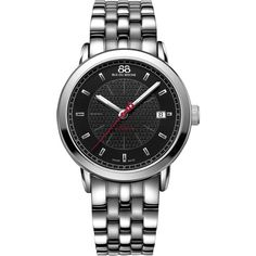 88 Rue Du Rhone 87WA130032 Men's Stainless Steel Bracelet Watch (3.510 RON) ❤ liked on Polyvore featuring jewelry, watches, guilloche jewelry, black face watches, stainless steel watch bracelet, stainless steel watches and stainless steel bracelet watch