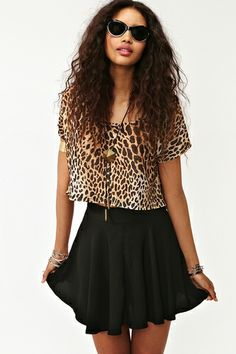 outfit idea. American Apparel circle skirt in black and a cut off T.