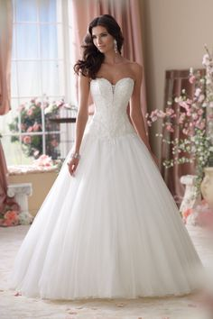 Classic Formal Hollywood Glam Romantic Ivory $$ - $701 to $1500 Ball Gown Beading David Tutera for Mon Cheri Dropped Floor Lace Strapless Sw...