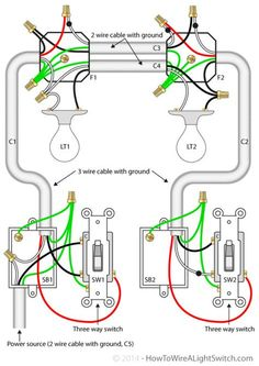 Two lights between 3 way switches with the power feed via one of the house wiring diagram 3 way switch 2 lights wiring diagram with cable with ground asfbconference2016 Image collections