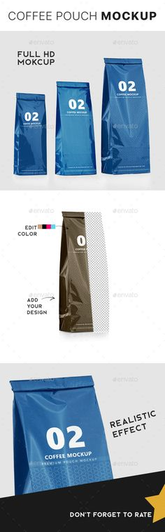Foil Coffee Packaging Bag Mockup - 3 Sizes - Packaging Product Mock-Ups