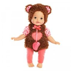 The Little Mommy Dress Up Cuties Unbearably Cute is a 13-inch baby doll wearing a sewn-on bear-themed outfit.