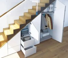 50 Amazing Under Stair Storage Solutions To Spruce Up Your Home – Engineering Di… Oturma Odası – home accessories Closet Under Stairs, Under Stairs Cupboard, Staircase Storage, Stair Storage, Closet Storage, Stairs In Living Room, House Stairs, Home Stairs Design, House Design