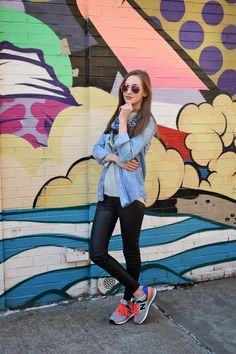 Wearing New Balance Pop Tropical 574 Collection, Sneakers and leather pants