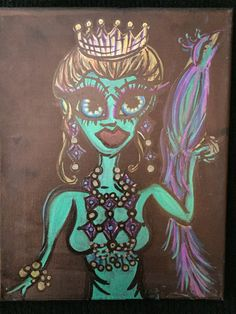 Princess Peacock, 5x7 ink on canvas by AlabasterandObsidian on Etsy