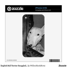English Bull Terrier Snuggled Under a Blanket -BW Decals For iPhone 4-This item features an English bull terrier snuggled under a blanket that has an Aztec or Native American design on it. This is a black and white photograph of my rescued English bull terrier, Mackenzie. We adopted her from an all breed rescue a couple of years ago. She is a typical fun loving bull terrier that can also show her calm side when it comes time to snuggle up under a blanket on a cold winter night.
