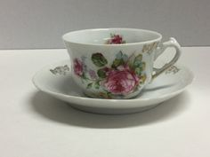 Vintage Tea Cup and Saucer Set Pink Flowers by FindingYesterday