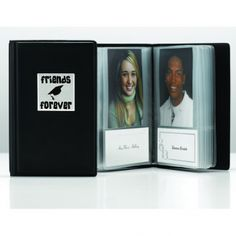 "Inside this keepsake book are 16 clear plastic sleeves that hold the name cards and 2"" x 3"" photos of 32 friends."