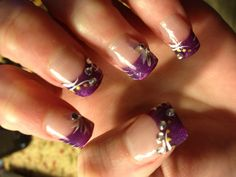 Purple french manicure with flowers nails pinterest purple purple french nail design prinsesfo Image collections