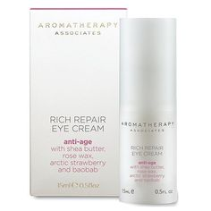 Aromatherapy Associates Anti-Age Rich Repair Eye Cream-0.51 oz by Aromatherapy Associates. $60.00. cream. For Eyes Only Give the delicate eye area the special attention and care it demands with this rich, repairing cream. Shea butter and rose wax work to replenish your skin's natural moisture barrier. Ancient Baobab extract, from Africa's 'Tree of Life', works to restore elasticity.Softens and plumps fine linesBoost skin's natural moisture barrierPromotes elas... Aromatherapy Associates, Eye Cream, Good Skin, Natural Skin, Birthday Wishes, Shea Butter, Anti Aging, Moisturizer, Wax