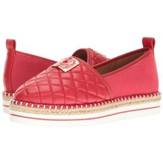 LOVE Moschino Superquilted Espadrille (Red) Women's Shoes (6,235 DOP) ❤ liked on Polyvore featuring shoes, sandals, red platform sandals, quilted shoes, round toe shoes, platform espadrilles and red shoes