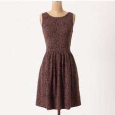 Anthropologie Deletta Flared Neovision dress Great dress featuring brown overlay on black giving it unique look! Size M in excellent condition Anthropologie Dresses