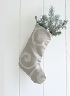 Christmas Stockings, Sateen stocking, Modern stocking, Satin Stocking, Exclusive Christmas Stockings in Gray or Beige by GreenwoodStore on Etsy
