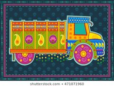 Illustration of Vector design of truck of India in Indian art style vector art, clipart and stock vectors. Indian Traditional Paintings, Indian Art Paintings, Madhubani Art, Madhubani Painting, Truck Art Pakistan, Indian Illustration, Car Illustration, Rajasthani Art, Vector Art