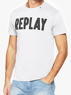 Replay Logo Carrier T-Shirt White Evolve Clothing, Replay, Graphic Tees, Clothes For Women, Logo, Trending Outfits, Mens Tops, T Shirt, Shopping