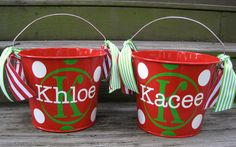 Personalized Christmas bucket.