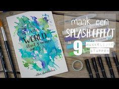 Met deze 9 (simpele) stappen maak je een ECOLINE SPLASH effect - YouTube Splash Effect, Bullet Journal Themes, Watercolor Techniques, Brush Pen, Abstract Canvas, Diy Cards, Doodle Art, Art Tutorials, Color Splash