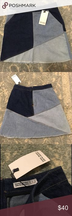 NWT Zara Denim Patchwork Blue Jean Mini Skirt New with tags Zara Patchwork Denim skirt with a zipper closure and pockets in the front. Not lined and is super super cute and in. Don't miss out! Zara Skirts