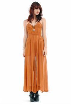SHAKUHACHI Paneled Silk Chiffon Dress - Terracotta
