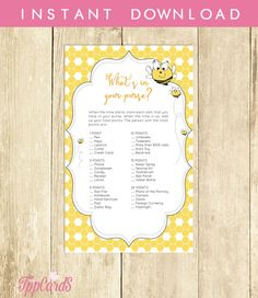 Bumble Bee Baby Shower What's in Your Purse Game Printable Download Bumble Bee Baby Shower Purse Game Bumblebee Purse Raid  Yellow 0015A by TppCardS #tppcards #printable #invitations