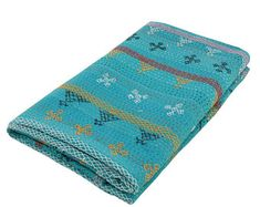 Queen Size Bohemian blue Quilt Beautiful Handmade Indian Kantha Bedcover