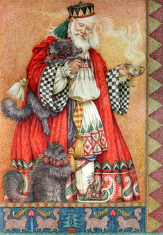 FATHER CHRISTMAS WITH CATS. Yvonne Gilbert