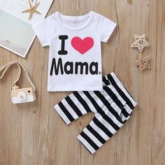 Baby Causal I LOVE MAMA Print Heart Tee and Striped Shorts Set Matching Family Outfits, Baby Outfits Newborn, Striped Shorts, Baby Care, Latest Fashion For Women, Red And White, Kids Outfits, Babies, Heart